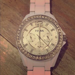 Fossil Watch EUC White Band with crystal face